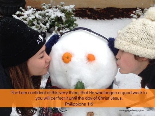 Snowman with Philippians 1:6
