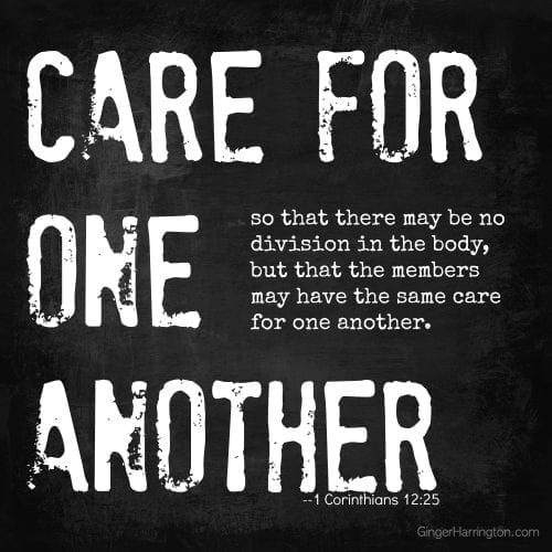 Care for one another, love one another, friendship, relationships, body of Christ