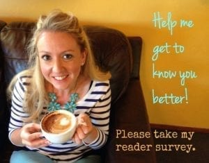 Help me get to know you better by taking my reader survey.