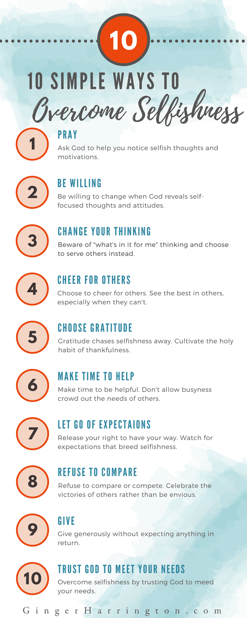 10 Simple Ways to Overcome Selfishness Infographic from GingerHarrington, author of Holy in the Moment.