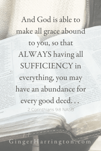 "And God is able to make all grace abound to you, so that always having all sufficiency in everything, you may have an abundance for every good deed--2 Cor. 9:8 reminds us that God has more than enough for our need. This is the truth to embrace when the ""not enough"" voices echo in your head."
