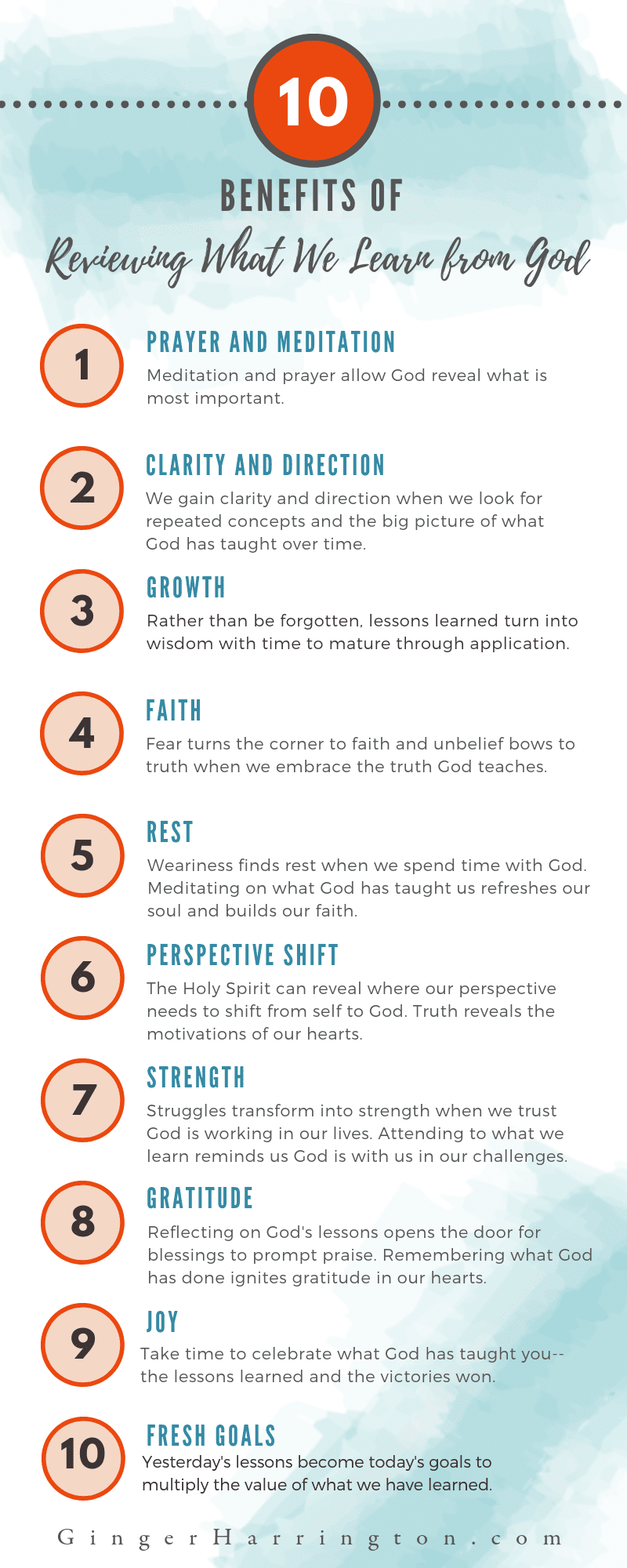 Discover the benefits of reviewing what you learn from God in your Quiet Time, devotions, or Bible study. Are you ready to maximize spiritual growth and start fresh this year with this powerful learning and journaling tool? Whether you journal with words, Bible journal with art, or keep study notes, this tool will ignite spiritual growth. Infographic with aqua water color swashes. Explains 10 Benefits of Reviewing what we learn from God.
