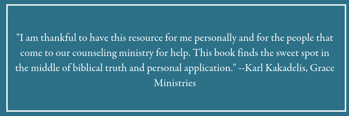 """I am thankful to have this resource for me personally and for the people that come to our counseling ministry for help. This book finds the sweet spot in the middle of biblical truth and personal application."" --Karl Kakadelis, Grace Ministries. Blue box with quote from a reader of the book, Holy in the Moment."