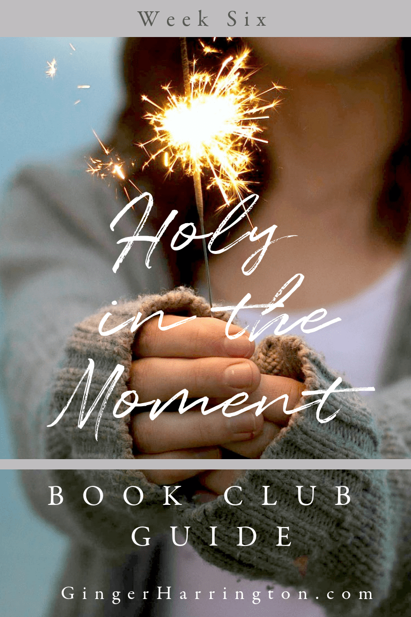 Join author Ginger Harrington for week six of the Holy in the Moment Book Club for discussion questions for chapters 15-16 of the book.