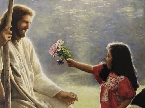 A snapshot of a painting of Jesus blessing the children.we see what was important to Jesus. He welcomed, received, and blessed the children with undivided attention. God invites us to come close with the faith of a child. When we do, we are blessed.