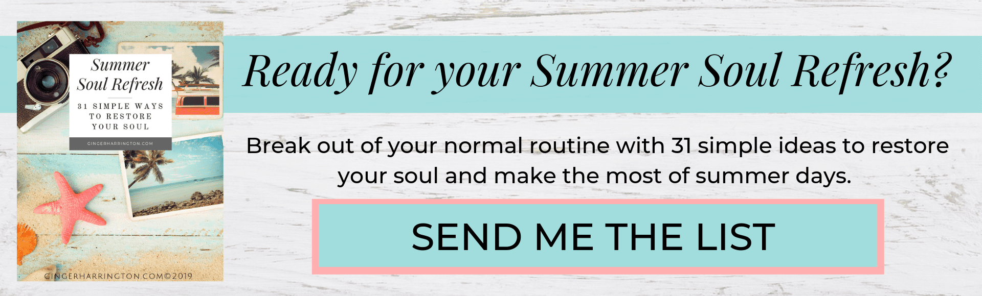 Cover copy of eBook called Summer Soul Refresh: 31 Simple Ways to Restore Your Soul.