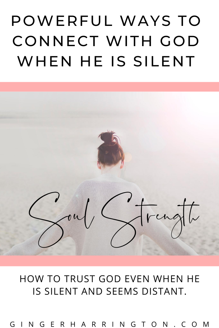 Strengthen your soul with powerful ways to connect with God when He is silent. With a free printable of Psalm 62:5-8. Encouragement for the weary soul waiting on God or struggling with spiritual depression or dark night of the soul. #Psalms #psalm62 #whengodissilent #darknightofthesoul #spiritualgrowth #spiritualjourney #trustinggod