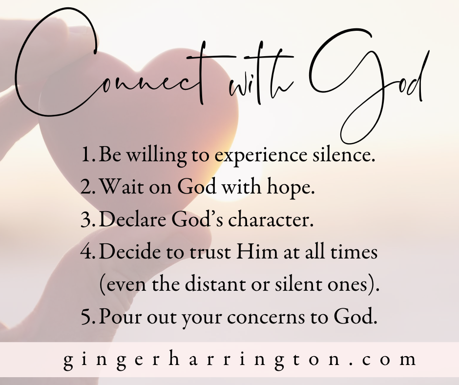 5 ways to connect with God from Psalm 62:5-8. Silence can deepen our relationship with God, but it isn't always easy. Are you becoming more comfortable with silence in your relationship with God? #Spiritualgrowth #silenceandsolitude