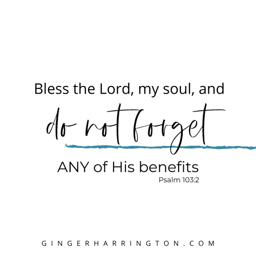 Psalm 103:2 stresses the importance of remembering God's benefits, the good things He does for us.